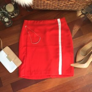Banana Republic Red/Orange Skirt with White Stripe